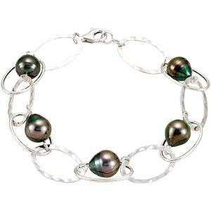 China Tahitian Pearl Sterling SIlver Link Bracelet on sale