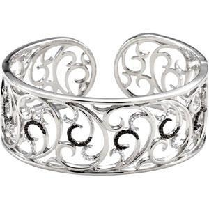 China Black and White Diamond Sterling Silver Cuff on sale