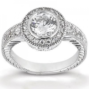 China Antique Style Diamond Halo Engagement Ring on sale