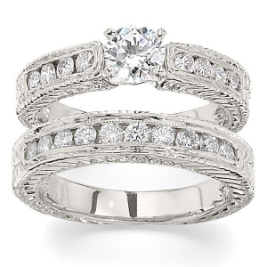 China Antique Style Channel Set Engagement Ring on sale