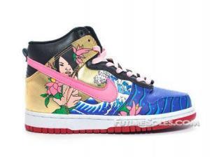 China Nike Dunk High Mermaid Gold Pink Blue Black Women Dunks Sneakers on sale