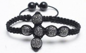 China Shamballa Cross Bracelet, Jet Hematite Crystal Pave Alloy Beads on sale