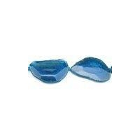 China Handmade Beaded Jewelry Supplies Blue Cracked Dyed Agate Beads Faceted Slabs on sale