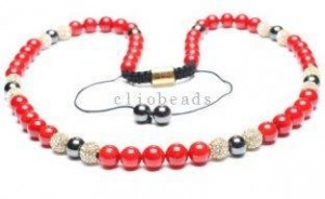 China Shamballa Handcrafted Beaded Necklaces with Red Coral and Hematite Rounds Beads on sale