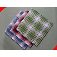 Reusable Green Plaid Pure Cotton Mens Personalized Handkerchiefs for Promotion