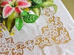 China Vintage Hand Battenburg/Embroidery Lace Table Cloth w/Napkin on sale