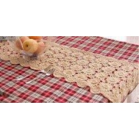 China Vintage Hand Crochet 3D Floral Ecru Table Runner14x54 on sale