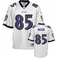 Reebok Baltimore Ravens #85 Derrick Mason White Replica NFL Jersey