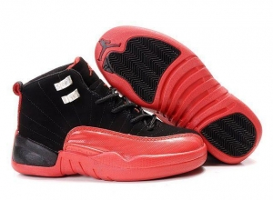 China Kid's Air Jordan 12 Shoes - black/red on sale