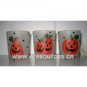 China Halloween Glass Tealight Holder on sale