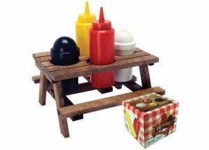China Mini Picnic Table Condiment Set on sale