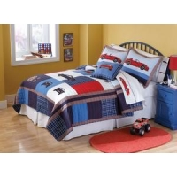 China Cars Boys Queen Kids Bedspread and Sham Set on sale