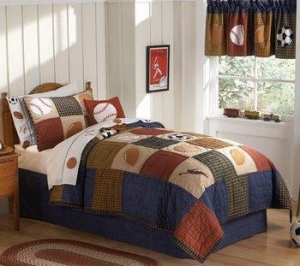 China Classic Sports Twin Boys Quilt Bedding Bed in a Bag Set on sale