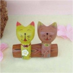 Handcraft Wood Cat couples Collectibles Figurines-C - Red & Whitel