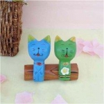Handcraft Wood Cat couples Collectibles Figurines-B - Yellow & Gray