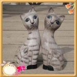 Handcraft Wood Stripe Cat Couples Collectibles Figurines