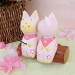 Handcraft Wood Cat Couples Collectibles Figurines