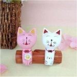 Handcraft Wood Cat couples Collectibles Figurines-A - Blue & Green