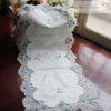 China Gorgeous Embroidery Blue Roses Sheer Table Runner for sale