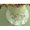 China Elegant Rose Embroidery Round Sheer Doily/Placemat 11