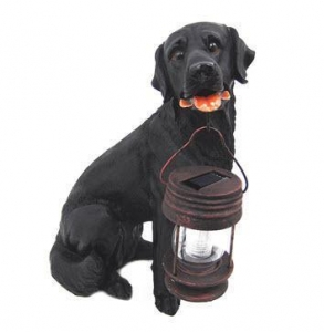 China Black Labrador Dog With Lantern Solar Light on sale
