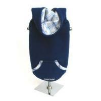 Navy Blue Fleece Dog Hoodie w Trimmed Pocket