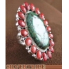 China Turquoise Red Oyster Shell And Genuine Sterling Silver Ring Size 5-1/2 HS47538 for sale