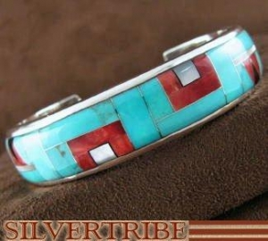 China Turquoise Multicolor Inlay And Genuine Sterling Silver Cuff Bracelet RS40952 on sale
