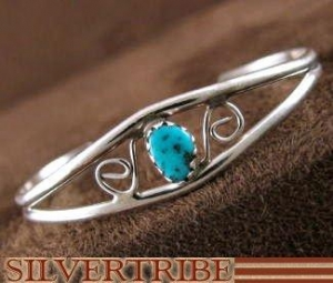 China American Indian Jewelry Sterling Silver Judy Lincoln Turquoise Baby Cuff Bracelet AS46193 on sale