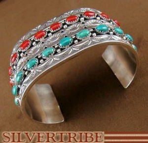 China Native American Navajo Turquoise Coral And Sterling Silver Cuff Bracelet HS44394 on sale