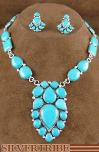 China Sterling Silver Jewelry Turquoise Link Necklace And Earrings Set HS28651 on sale