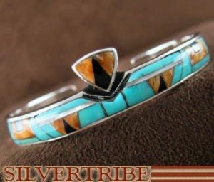 China Mother of Pearl Multicolor Inlay Genuine Sterling Silver Cuff Bracelet NS40448 on sale