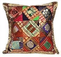 China Sari Silk Indian Designer Accent Pillow Cushion Cover on sale