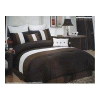 High Quality 8 piece Faux Silk Comforter Set Bedding-in-a-bag, Black