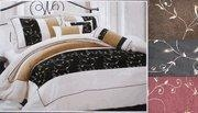 China 7 piece micro suede with embroidery comforter set designer style Coffee or Black or Burgunday on sale