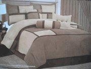 China Twin Size Quality Micro Suede Comforter Set Bedding-in-a-bag, Brown-Tan / Beige on sale
