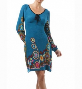 China Aryeh Teal Tease Dress with Long Sleeves on sale