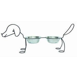 China Doggie Metal frame stainless steel double bowl set on sale