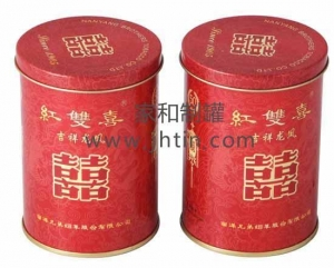 China Circular tank Tin101 Double happiness cigarette tobacco tin cans tinplate cans tinplate on sale