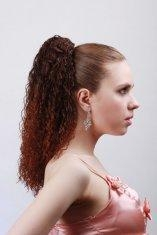 China Dark Brown Curly Synthetic Pony Tail Wigs and Extensions for Women on sale
