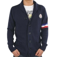 Moncler Men Button Wool Sweaters Classic Blue