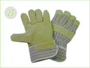 China S Pasted Cuff Pig Split Leather Industrial Protective Gloves With Striped Cotton Back on sale