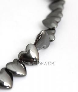China Natural Hematite Heart Beads 12mm 15 Strand on sale
