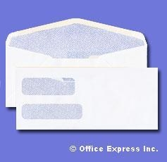 China #10 Double Window Envelope - Blue Inside Tint - 24# White Size: (4 1/8 x 9 1/2) - Security Lined on sale