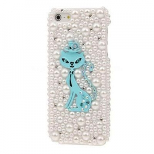China Plastic Case Cat 3D Pattern Pearl & Diamond Encrusted Plastic Case For iPhone 5 on sale