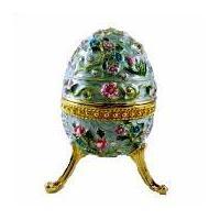 Large Flowered Blue Faberge Egg Box