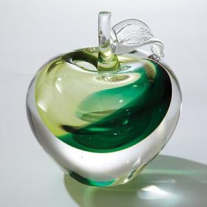 China Art Glass Glass Granny Smith Apple on sale