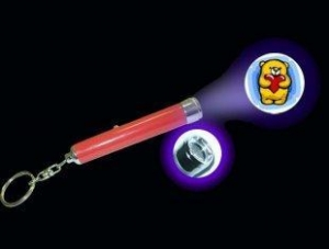 China promotional White Aluminium Barrel LED projector keychain light with your logo on sale
