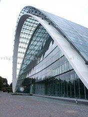 China 3 - 19 mm blue, green glass curtain walls facade for commercial building on sale