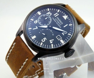 China Automatic parnis PVD case Big Pilot Power Reserve Chronometer cow leather watch on sale